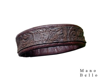 Embossed Leather Bracelet - Brown leather cuff - Leather Bangle Cuff - Leather Wrist Cuff - Dark Brown - 5/8 inch wide - Men Women USA