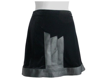SALE Velvet & Leather Skirt Refashioned Clothing Midnight Black Upcycled Deconstructed size Medium