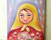 Matryoshka painting, Russian girl Folklore, folk art, Russian folk, Russian art, girls room ideas, nursery decor idea, nesting doll art
