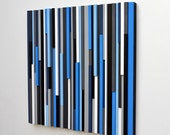 Wood Wall Art - Lines - Reclaimed 24x24 in electric blue Wood Sculpture