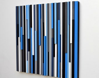 Wood Wall Art - Lines - Reclaimed 30x30 in electric blue Wood Sculpture
