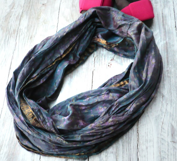 Infinity  blue Scarf in recycled sari silk, Wearable Woman  accesories AZ