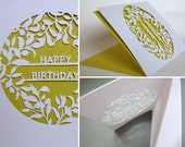 Hand Cut Botanical Birthday Card- White With Yellow Insert