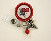 Personalized retractable badge reel with spring clip..teacher or nurse..id badge...nursing..monogrammed badge holder