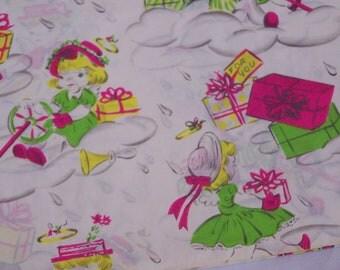 New 50's Old Stock Vintage Dennison Gift Wrap Bridal Baby House Warmimg Shower 2 Sheet
