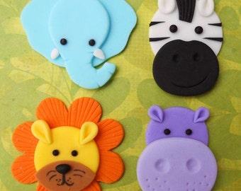 12 JUNGLE ANIMALS. Edible Fondant Cupcake Toppers - Elephant, Zebra, Lion & Hippo