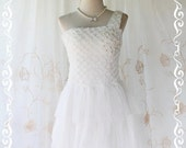 Princess Of The Night Cocktail Dress - Pure White Top Pearl Beads Embroidered One Shoulder Tutu Wedding Night Party Prom Cocktail Size M