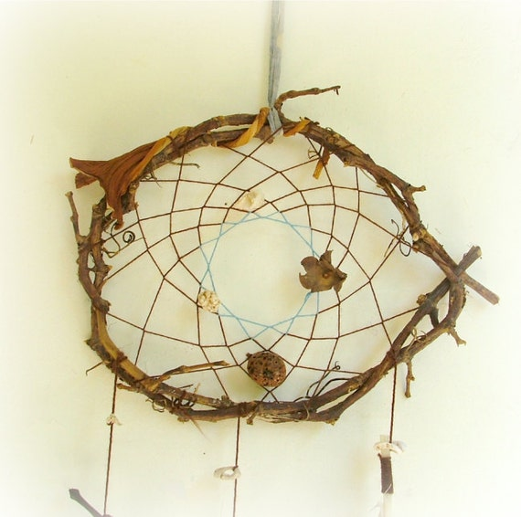 Good night fairy large dream catcher with dried pods and other natural beads