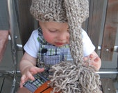 SALE Baby hat photo prop hand knit  tail pom pom in brown or blue tweed FREE US shipping