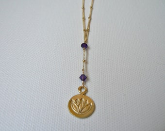 Gold Lotus Pendant Necklace with Gold Amethyst Lotus Necklace, Gold Lotus Flower Necklace, Gold Lotus Necklace, January Birthstone Necklace
