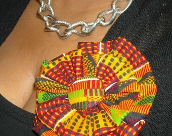 African Fabric Flower Brooch/ Hair Clip
