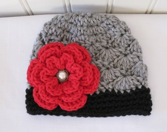 Crochet Girls Hat - Baby Hat - Winter Hat - Toddler Hat - Light Gray (Grey) and Black with Red Flower - in sizes Newborn to 3 Years