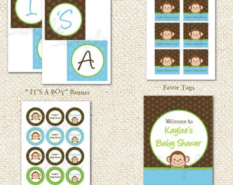 Monkey Baby Shower - DIY Printable Personalized Birthday Party Package Party Pack