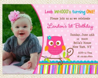 Girl Owl Birthday Invitations