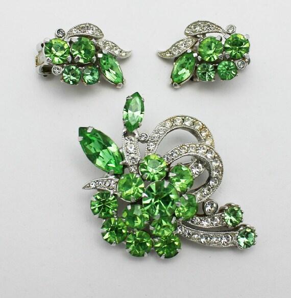 Vintage Eisenberg Ice Brooch and Earrings Rare Green