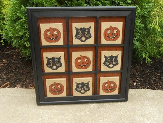 Primitive Wood Halloween Tic Tac Toe Game Board Folk Art Black Cat Pumpkin Gameboard