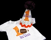 Football Birthday T Shirt and Party Hat Set 2 piece Applique Personalized ANY NUMBER 1st 2nd 3rd Boys Girls Photo Prop