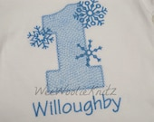 Onederland Birthday T Shirt  Personalized Girls Boys Snowflakes Wonderland First Birthday Any Number Custom Monogrammed  Applique