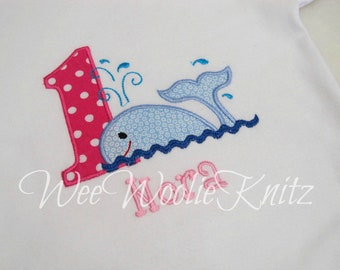 Whale Birthday T Shirt Girls Summer Personalized Applique Toddler 1st 2nd 3rd Summer
