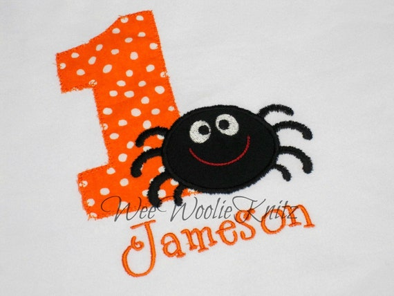 Boys Halloween Spider  Birthday Shirt  ANY NUMBER Personalized Applique Toddler Tshirt 1st 2nd 3rd Photo Prop
