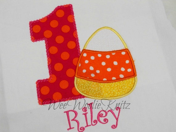 Girls Halloween Birthday Shirt Personalized Appliqued ANY NUMBER or Letter Tshirt Toddler Fall