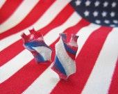 Sporty Girl Earrings... Red White And Blue Team USA  Swimsuit Leotard Earrings
