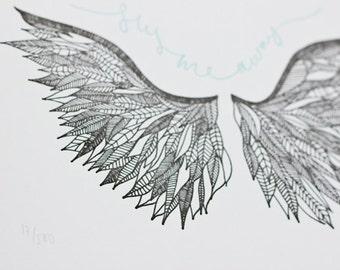 Limited Edition Letterpress Illustration: Fly Me Away