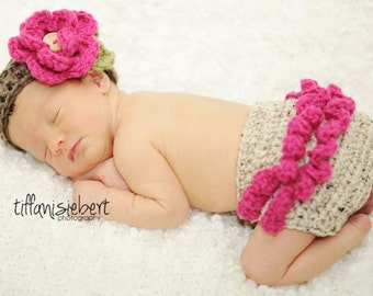 Ava Flower Headband in Oatmeal, Raspberry and Taupe with Matching Diaper Cover Available in Newborn to 24 Months Size
