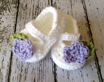 Mary Jane Baby Booties/Baby Shoes/Soft Shoes/ Shoes in White, Light Purple and Celery Available in 0 to 24 Months Size- MADE TO ORDER