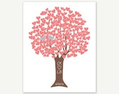 Personalized Love Tree in Coral & Silver - Anniversary or Wedding Gift - Art Print Digital Print 11x14, 8x10 or 5x7 Monogram
