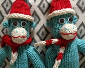 Made to order for kenziphoto - Two Twin Blue and Red Sock Monkeys