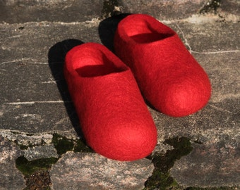Felted Wool Slippers in Red. Handmade. Made to order.