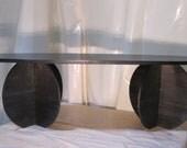modern blue walnut coffee table