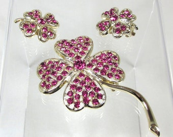 "Sarah Coventry ""Pink Ice"" Demi Parue, Pink Rhinestone Brooch and Earrings, Rare Set"