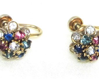 Antique Collectible Rhinestone Screw Back Earrings, 14 K Gold Filled Signed CR 1920's( Earliest Coro Company)