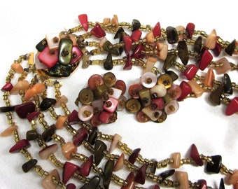 Autumn Colored Japan Dyed Shell Necklace and Earrings, Vintage Dyed Shell MOP Demi Japan Nice Collar Necklace