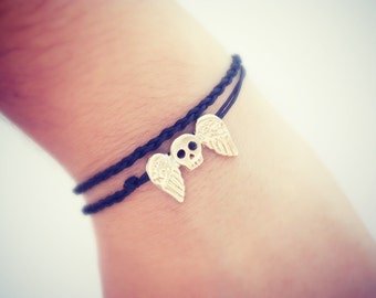 Tiny Winged skull adjustable necklace silver gold - Anklet alteration available