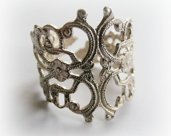 Sterling Silver adjustable Filigree Ring - Metalwork silver adjustable ring