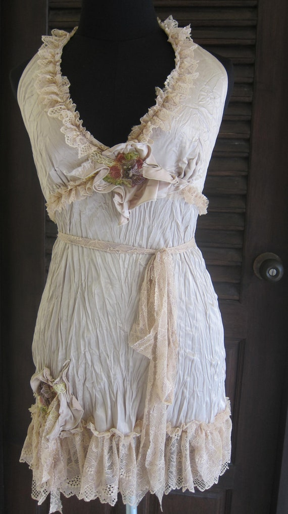 cream coloured satin vintage inspired  top/dress.....ruffles of cream lace with vintage motif..