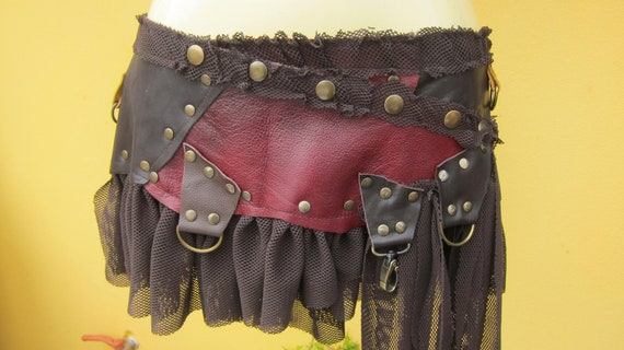 BURNING MAN..bohemian choc leather mini skirt belt/tutu with lace and stud detail....