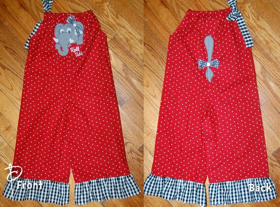 Alabama Crimson Tide Elephant Romper with Tail & Bows 3 6 9 12 18 month size 2t 3t 4t 5 6