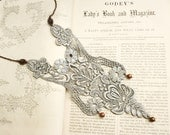 lace necklace -MARCHESSCA- silver gray
