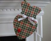 Cat Stocking -  Red & Green Plaid