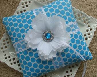 Wedding Ring Bearer Pillow - White Peony on Turquoise & White Polka DOts