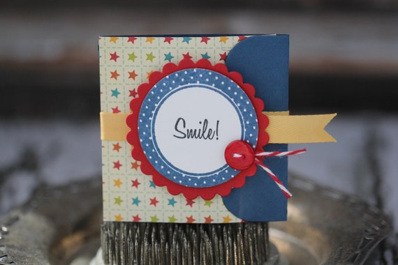 Smile - Lunchbox note - in blue, yellow and red