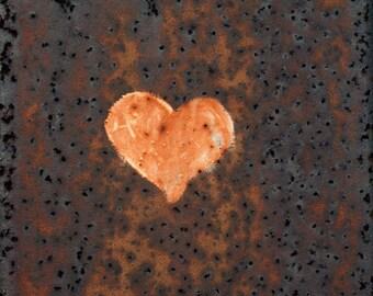 Orange Heart, Graffiti, Square Photograph, White, black, brown, rust, love