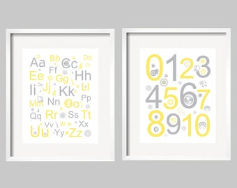 boy Wall Art, nursery decor Alphabet and Numbers 8x10 Set of 2 prints Modern Children's Art in yellow and grey by YassisPlace