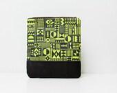 SALE Geometric Pattern Leather Pouch neon lemon No. ZP-301