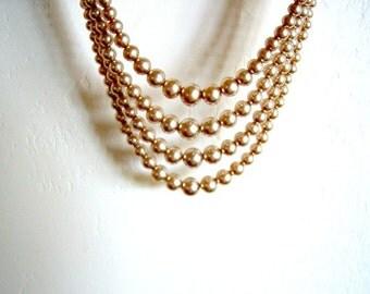 Vintage/ Champagne/ Faux Pearls/ Four Strand/ Rhinestone/Small Pearls/Beige/Cream 29.95