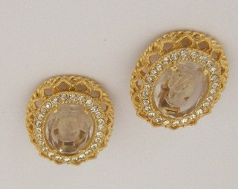 Vintage Rhinestone Cameo Gold Clip Earrings